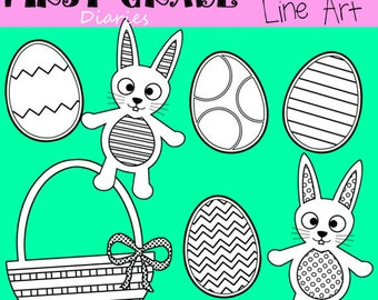 Easter Digital Line Art Bunny Eggs -- BUY 2 GET 1 FREE