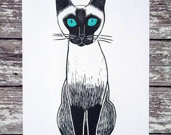 Siamese Cat Art Print A4 Lino Print Art Hand Printed Original /// Siamese Cat