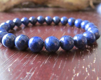 Lapis Lazuli Bracelet for Women or Men, Stacking, Layering, Stretch Bracelet, Yoga Bracelet, Blue Bracelet, Mens Jewelry, Gift for Men