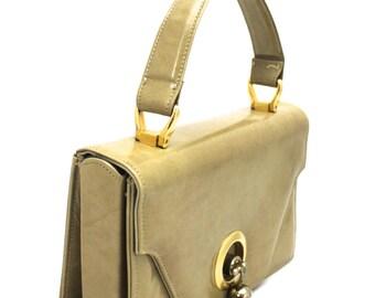 Rare VTG 1960s Rosina Ferragamo Schiavone Handbag Cool Knob Clasp Camel Tones Leather