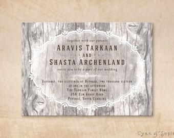 Printable Wedding Invitation - 5x7 - Wood and Flourishes - Vintage Rustic Winter Woodland Elegant Barn Personalized DIY - Grey Gray White