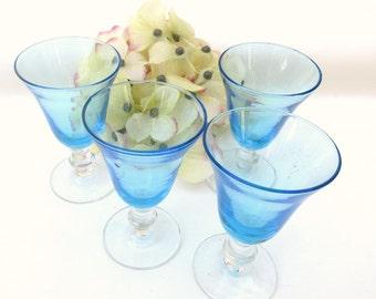 Vintage Cocktail Glasses   Bar Glasses   Turquoise Glasses   Barware   Sherry Glasses   Coupe Glasses   Cordial Glasses   Set of 4
