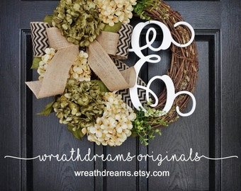 BEST SELLER! Sage Green & Cream Hydrangea Wreath. Year Round Wreath. Spring Wreath. Summer Wreath. Door Wreath. Grapevine Wreath.