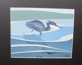 """New """"BLUE HERON"""" Matted, signed and numbered art print by MW James Limited Edition"""
