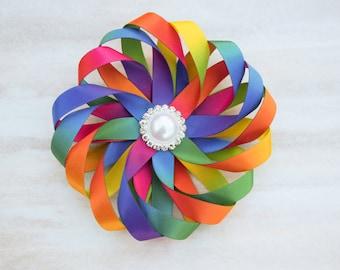 rainbow hair bow, rainbow hair clip, flower rainbow hair bow, flower hair bow, rainbow birthday hair clip, girl hair clips, baby hair bows