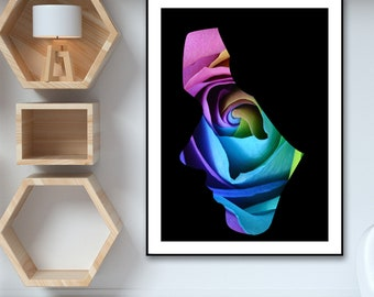 Rainbow Rose in Woman Silhouette