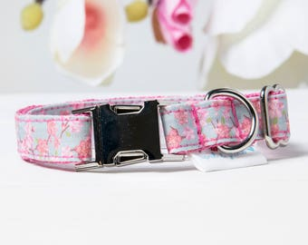 "Dog Collar and Leash Set ""Cherry Blossom Sakura"""