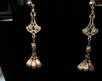 Gold Chandelier Earring Vintage 1950-60