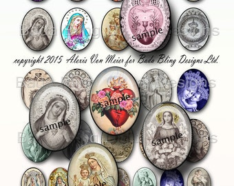30mm x 40mm, Catholic Prayer Cards &  Holy Cards,  INSTANT DOWNLOAD at Checkout, 22mm x 30mm images incl. as well, religious collage sheets