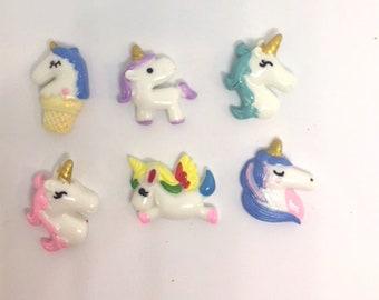Unicorn Push Pins Thumb Tacks, Magnets  X6, Girl's Cork Board, Message Board Decor, Cubicle Thumbtacks, Refrigerator Magnets