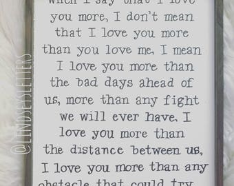 12x18 I love you the most wooden frame wood sign