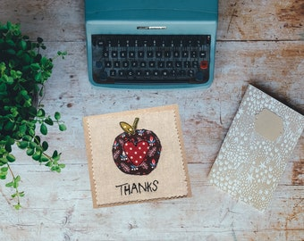 Teacher textile art thank you card