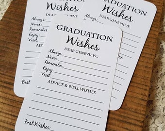 Set of 12 Graduation Wishes Advice Cards for Graduation Party