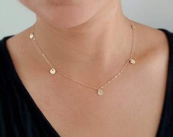 Delicate  Gold Discs Necklace - 14K Gold Filled - Every Day Dainty Gold Necklace