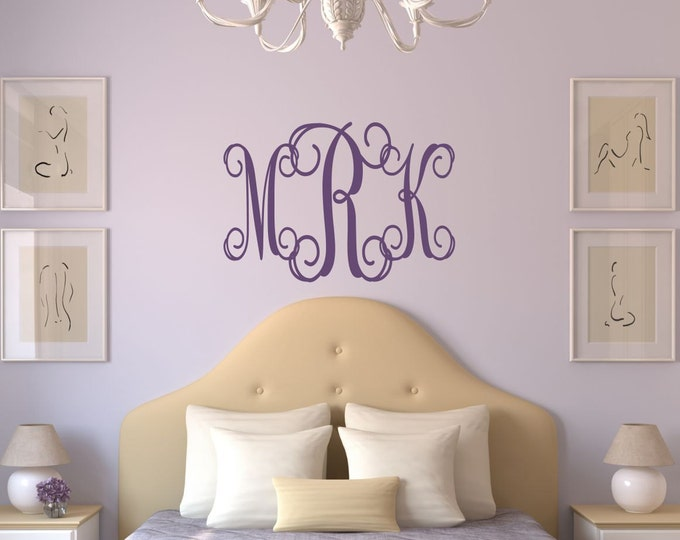 Custom Monogram Wall Decal // Name Wall Decal // Family Wall Decal // Nursery Wall Decal // Wedding Monogram Decal // Home Decor
