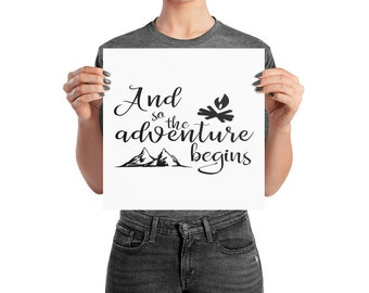 Camping wall art, And So The Adventure Begins, RV wall art, travel quote, camping art, camping quote, camping gift, rv art, camping gear