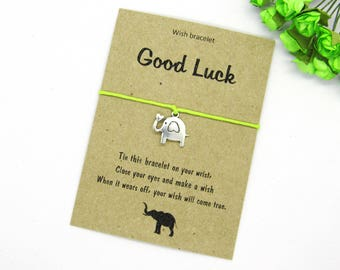 Elephant wish bracelet - Friendship bracelet - Elephant bracelet - Elephant charm - Elephant jewelry - Charm Bracelet - Good luck elephant.