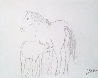 Mare with Foal, Horse Drawing, Original Pencil Drawing, Mother and Child, Horse Portrait, Depiction of Animal