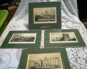 Vintage English Scene Placements**Set of 4**