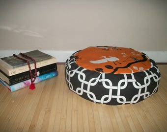 "Birds Meditation Cushion Zafu. Floor/Dorm Pillow. Black Orange Geometric. Buckwheat Hulls. 15"" x 5"". 6"" L. sidewall opening. Handmade, U.S.A"