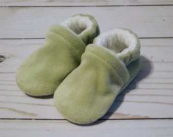 Sage Green : Soft Velour All Fabric Baby Shoes 0-3M Newborn Booties