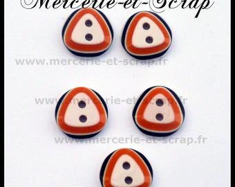 6 buttons orange black round 12mm fancy white triangle