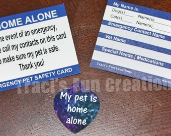 Pet Home Alone Kit - Pet Home Alone Tag, Pet Home Alone Emergency Card, Emergency Contact Card, Pet tag, Pet Home Alone, Gift for Dog Lover