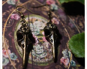 heckle & jeckle earrings - uniquely whimsical brass raven skull earrings for the uniquely whimsical woman