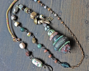 """Rustic totem lariat necklaces, cairn stone stacks in shades of teal green, long bohemian art jewelry by fancifuldevices- """"Saxicoline"""""""