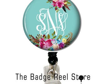Name Badge Holder, Retractable ID Badge Holder - Preppy - Shabby Chic - Name Tag - Boho, teal , Personalized, Name Badge, Initials Custom