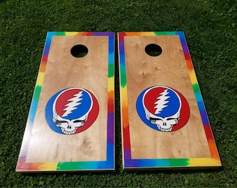 Grateful Dead Custom Cornhole Boards with a Set of Bags - Tie Dye Bears & Handpainted Art - Steal Your Face