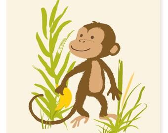 Monkey wall art - safari zoo art for kids, boys art - nursery wall decor for baby