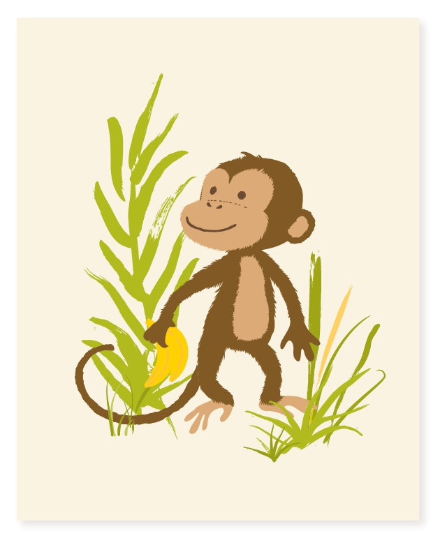 Monkey wall art safari zoo art for kids boys art nursery