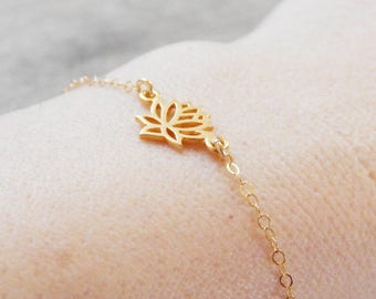 Lotus Bracelet, Gold Lotus Bracelet, Dainty gold bracelet, yoga, Bridesmaid bracelet, Gold filled