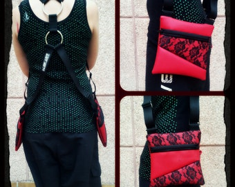 Double holsters/Double holsters [red + lace flowers]