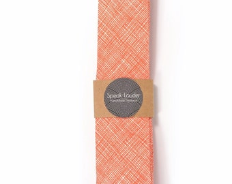 Orange plaid necktie - Wedding Mens Tie Skinny Necktie - Laid-Back necktie