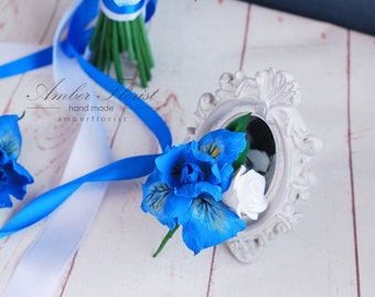 Blue Boutonniere Grooms Boutonniere Wedding Boutonniere Clay flowers Blue Boutonniere Groomsman Boutonniere Men Wedding Boutonniere Iris