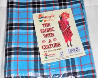 100% Acrylic Masai Maasai Shuka Blanket / Bedspread / Throw over Picnic Mat - TURQUOISE