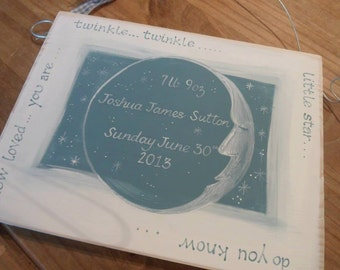 New baby gift, baby shower and Christening gifts, handmade  personalised twinkle twinkle plaques in pink and blue. Keepsakes to treasure,