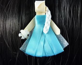 New - Frozen's Elsa  Disney Princess Inspired Ribbon Sculpture Hair Clip ...Hair Accessory ...Hairbow
