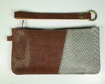 MAISI - Small clutch in Dark chocolate brown and imitation snake or light moss green leather 21 x 11 cm