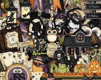 On Sale 50% Digital Scrapbooking Kit Bewtiching Halloween - Digital Scrapbook