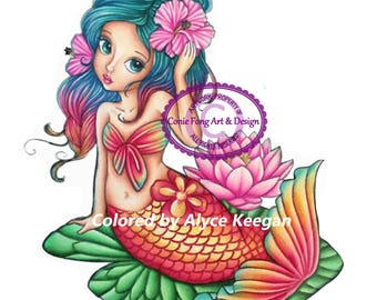SALE-Digital Stamp, Digi Stamp, digistamp, Liliana Mermaid by Conie Fong, Coloring Page, mermaid, girl, fantasy, flower, waterlily