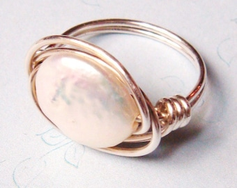 White Pearl Ring   Freshwater Pearl Ring   Pearl Ring   Sterling Silver Ring  Wire Wrapped Ring  Pearl Jewelry