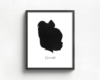 custom silhouette portrait, gift for mom, gift for her, grandparents gift, custom family art, family keepsake, mothers day gift