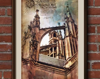Wall Art Print. Сhech photography, Gothic architecture, decor, travel photography, vintage style