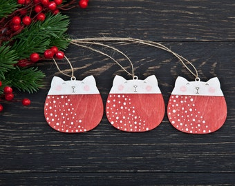 Red Christmas Ornaments, christmas decorations, Set of 3, Cat Holiday Ornaments, Wooden cats