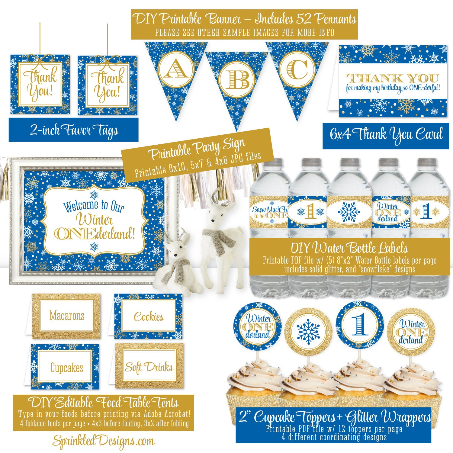 Winter Onederland Birthday Decorations Royal Blue Gold