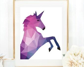 Unicorn print, Unicorn wall art, Nursery art, Unicorn wall decor, Nursery wall print, Kids room decor, Unicorn poster, Fantasy art