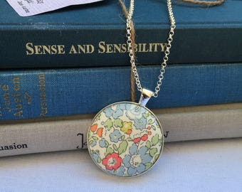 Fabric button pendant, floral, liberty print, necklace